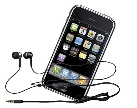 Sennheiser M 50 iP headset plugged into an Apple iPhone