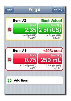 Frugal Tidal Pool Software lower grocery bill prices imperial metric Apple iPhone 3G iPod Touch