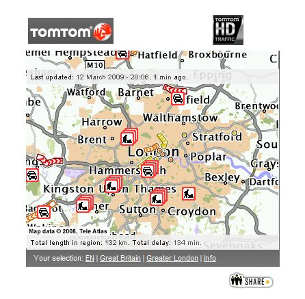 TomTom HD Traffic widget Facebook Bebo iGoogle real-time traffic information