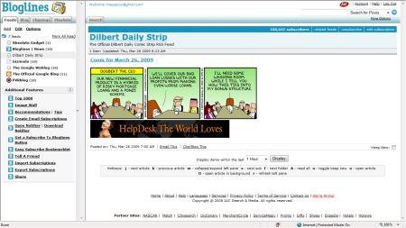 Bloglines news feed reader